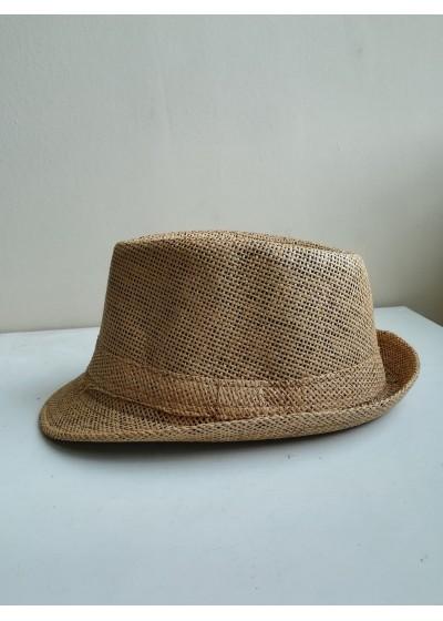 Дамска лятна шапка тип бомбе в светло кафяво