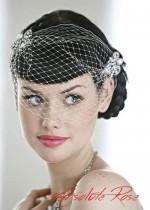 Булчинска воалетка за коса дизайнерски модел с кристални шноли модел Alice by Rosie