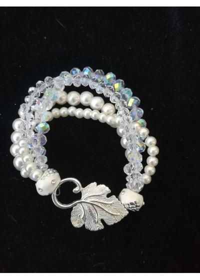 Сватбена гривна с 4 реда стъклени перли и кристали Сваровски Delicate in White by Rosie