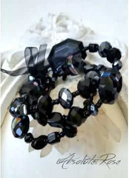 Дизайнерска гривна за абитуриентка от кристали Сваровски и оникс Black Onyx