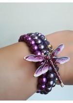 Луксозна абитуриентска гривна с перли и кристали Сваровски в лилаво Dragonfly by Rosie