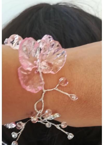 Дизайнерска булчинска гривна от Сваровски кристали в розово серия Japanese Garden by Rosie