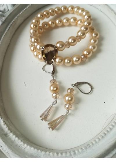Комплект булчински бижута - гривна и обици от перли и кристали модел Elegance цвят екрю