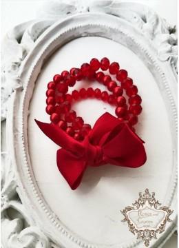 Гривна с перли и кристали в червено за официални поводи Red Passion