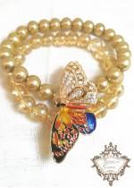 Красива гривна в златно с перли и стъклени мъниста Gold Fly серия Nature