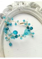 Ефектна дизайнерска гривна със Сваровски кристали в цвят Тюркоаз Turquoise Spell by Rosie