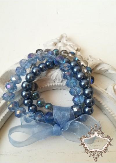 Дискретен комплект гривни от Сваровски кристали и стъклени перли в синьо Something Blue