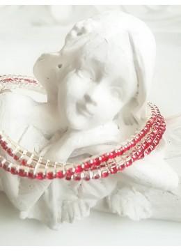 Комплект от 3 броя нежни кристални гривни цвят червено