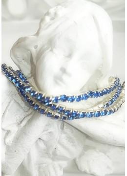 Комплект от 3 броя нежни кристални гривни цвят светло синьо