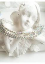 Комплект от 3 броя нежни кристални гривни цвят бяло - хамелеон