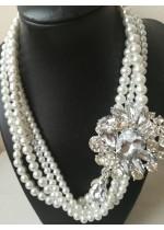 Колие за булка с кристали Сваровски и стъклени перли