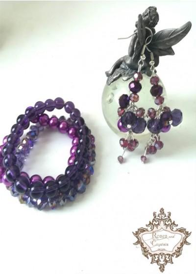 Комплект гривни и обици с лилави кристали Purple dream by Rosie