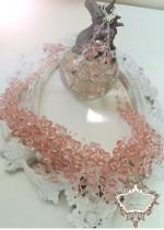 Дизайнерски комплект колие и обици от розови перли Сваровски Rose Crystal Garden by Rosie