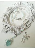Нежен комплект бижута за сватба и бал в цвят Тифани с аквамарин и кристали Sea Dream by Rosie