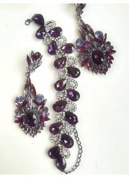 Гривна и дълги обици с кристали в лилаво и бяло модел Amethyst Flower