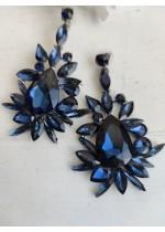 Кристални обици за бал в тъмно синьо Adelaide Blue
