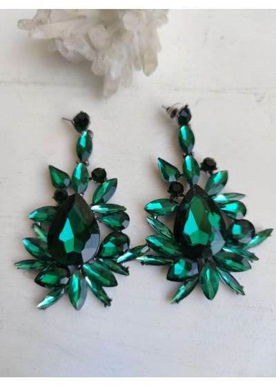 Абитуриентски кристални обици в тъмно зелено Adelaide Green
