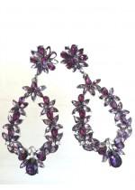 Обици с кристали в цвят аметист и бяло модел Amethyst Flowers