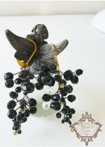 Елегантни ръчно изработени обици с черни кристали модел Black and Gold by Rosie