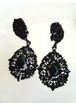 Кристални черни обици с клипс Black Crystals