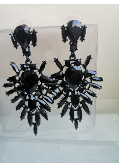Луксозни кристални обици в черно Black Flower