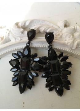 Стилни кристални обици в черно Black Style
