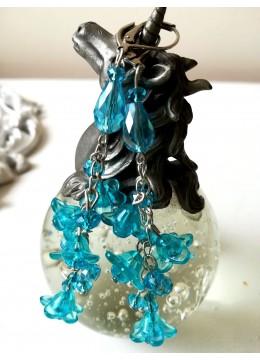 Кристални обици в цвят тюркоаз от серия Blue Bell by Rosie
