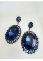 Стилни обици с кристали в цвят тъмно син сапфир модел Blue Classic