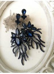 Красиви кристални обици в тъмно синьо Blue Fantasy