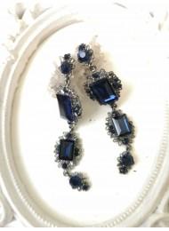 Елегантни кристални обици в тъмно синьо Blue Fate