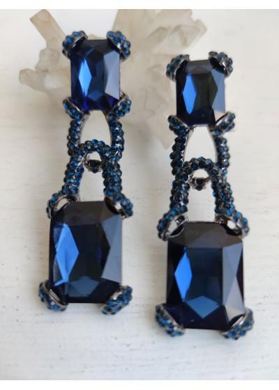 Стилни обици за бал с кристали в тъмно синьо модел Blue Luxury