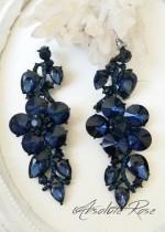 Официални обици с тъмно сини кристали Blue Roses