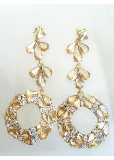 Елегантни дамски обици с кристали в златно за сватба и бал модел Circle of Flowers