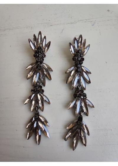 Красиви висящи обици за бал с кристали в цвят златно модел Dark Silver Style