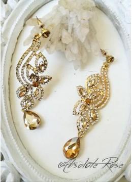 Нежни висящи обици с кристали в цвят златна сянка Galata Gold
