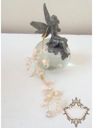 Ръчно изработени обици от кристали Сваровски цвят праскова Garden Blush