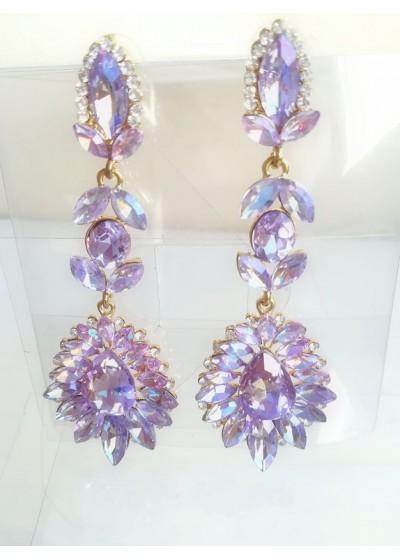 Кристални обици за бал и официални поводи цвят светло лилаво АБ ефект Gentle Purple
