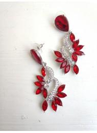 Елегантни обици за бал с кристали в червено - Gentle Red