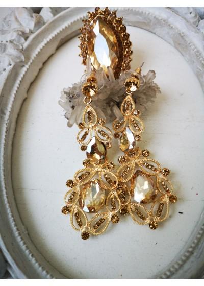 Висящи кристални обици в златно Gold Ornament
