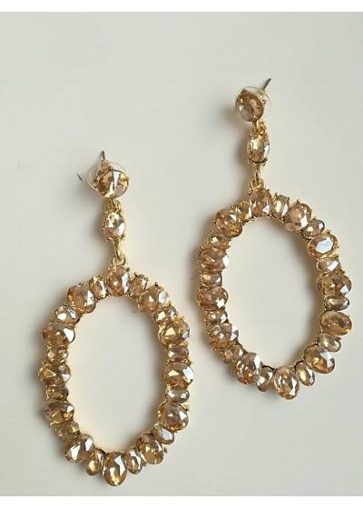 Блестящи обици за сватба и бал с кристали Сваровски Golden Shadow модел Gold Shine