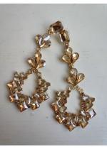 Изящни абитуриентски висящи обици с кристали в златно- Golden Eternity