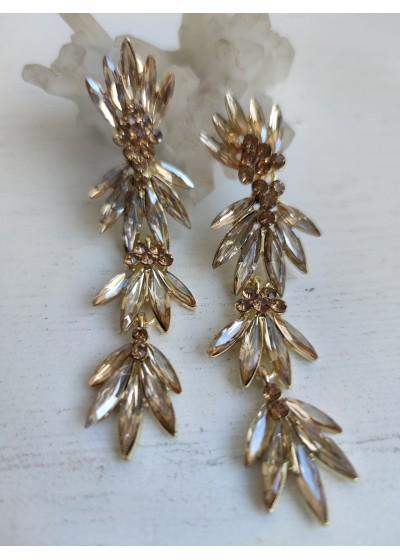 Луксозни дамски обици за бал с кристали в цвят златно модел Golden Style