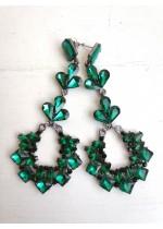 Красиви официални дамски обици с кристали в тъмно зелено - Green Eternity