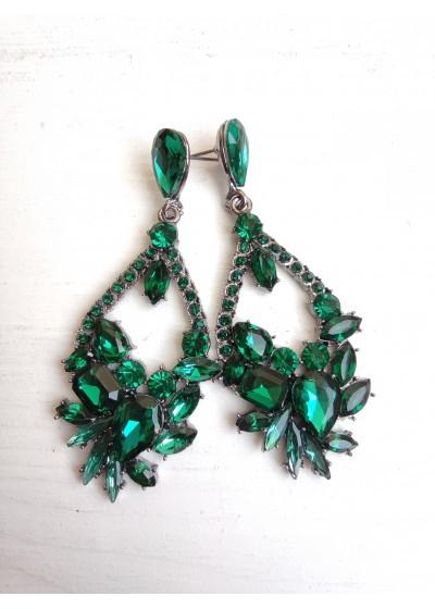 Модерни дамски обици за абитуриентски бал с кристали в тъмно зелено - Green Fate