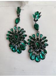Стилни дамски обици за бал с кристали в цвят тъмно зелено модел Green Ornaments