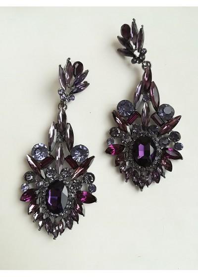 Дълги обици с кристали в светло и тъмно лилаво модел Lilac Flower