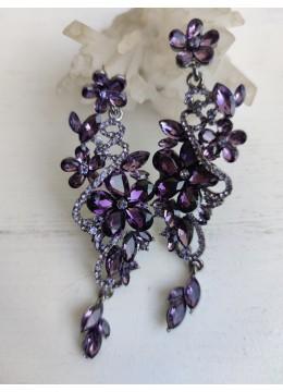 Дамски обици за бал с кристали в цвят лилаво модел Magic Flowers