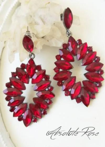 Кристални висящи обици за специални поводи Malta Red