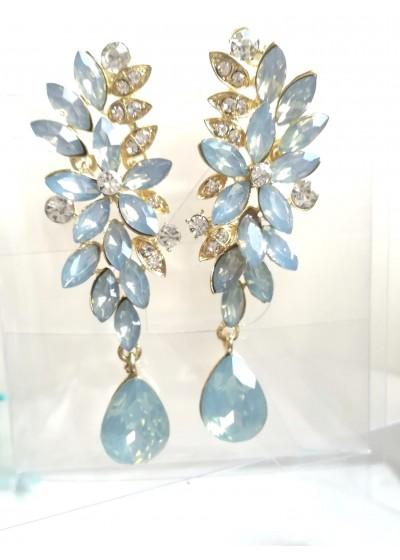 Официални обици в опушено светло синьо Moon Flowers