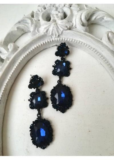 Красиви официални обици с черни и тъмно сини кристали Oriental Blue